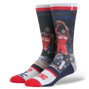 Stance DC Rising Washing Wizards Socks Wall Beal L